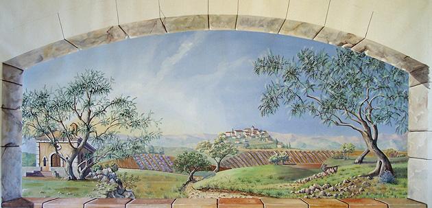 H l ne lafont d cors panoramiques cannes antibes grasse for Fresque murale en carrelage